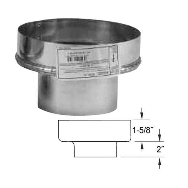 "Metalbest 4VP-A8 Galvanized Vp 4"" Type L Pellet Pipe To 8"" Chimney Adapter 1"