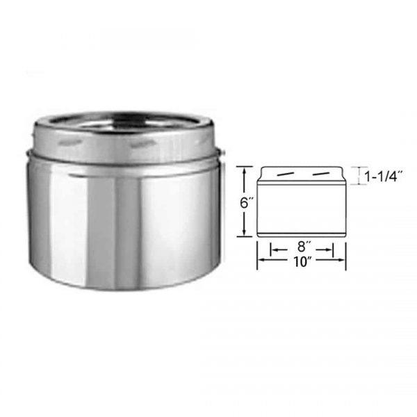 """Metalbest 8UT-6 Stainless Steel 8"""" Inner Diameter 1"""