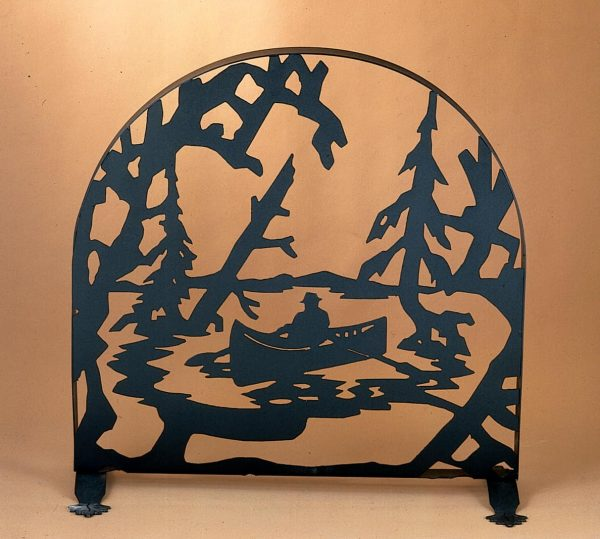 """Meyda 30""""w X 30""""h Canoe At Lake Arched Fireplace Screen"""