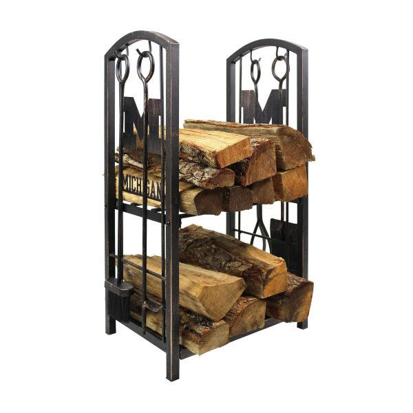 Michigan Wolverines Imperial Fireplace Wood Holder & Tool Set - Brown 1