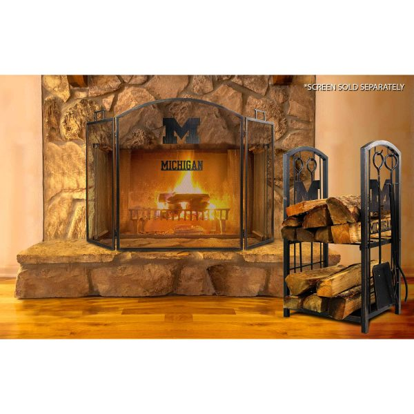Michigan Wolverines Imperial Fireplace Wood Holder & Tool Set - Brown 2