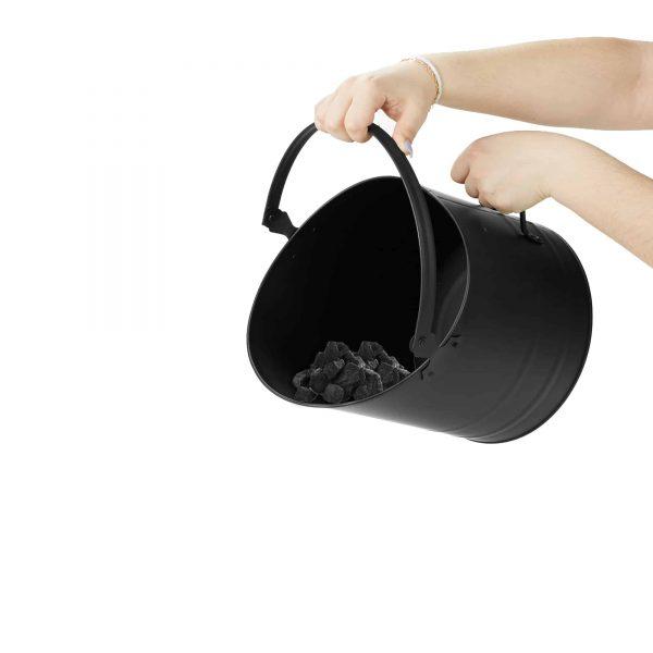 Mind Reader Large Fire Place Ash Bucket, Pellet Bucket, Black 1