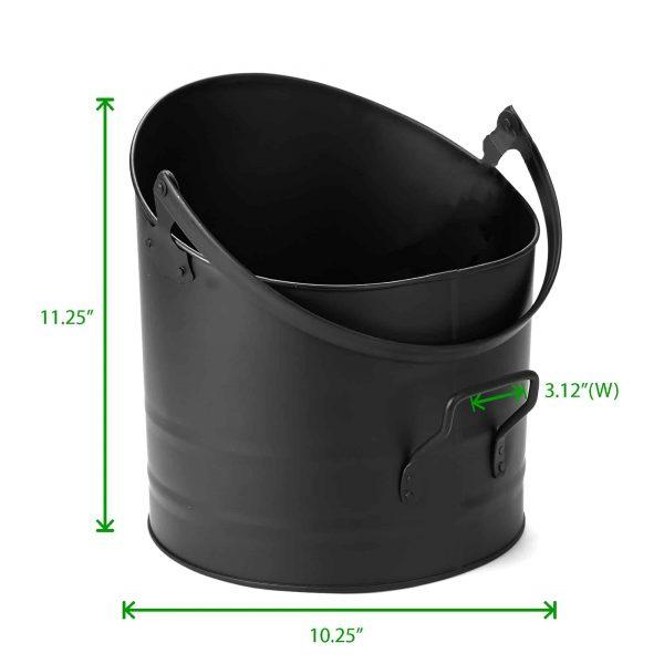 Mind Reader Large Fire Place Ash Bucket, Pellet Bucket, Black 2