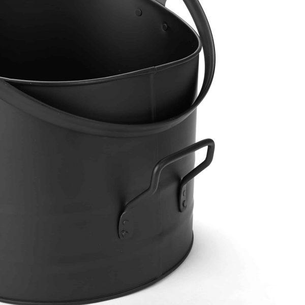 Mind Reader Large Fire Place Ash Bucket, Pellet Bucket, Black 4