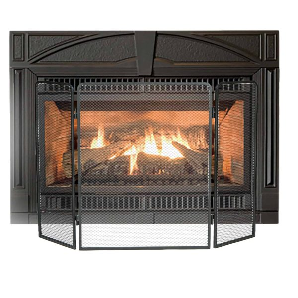 Mind Reader Room Divider 3 Panel Fire Place Screens, Black 1