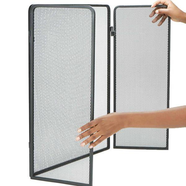 Mind Reader Room Divider 3 Panel Fire Place Screens, Black 3