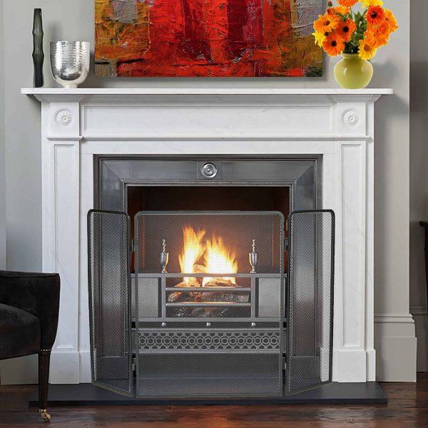 Mind Reader Room Divider 3 Panel Fire Place Screens, Black 4
