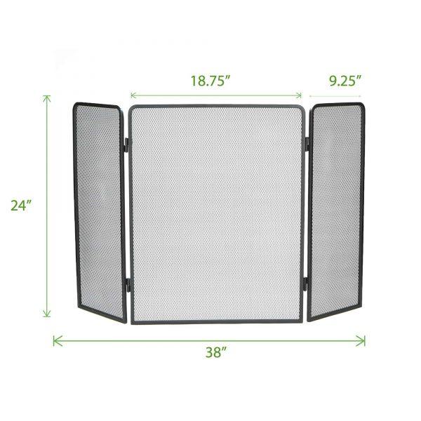 Mind Reader Room Divider 3 Panel Fire Place Screens, Black 5