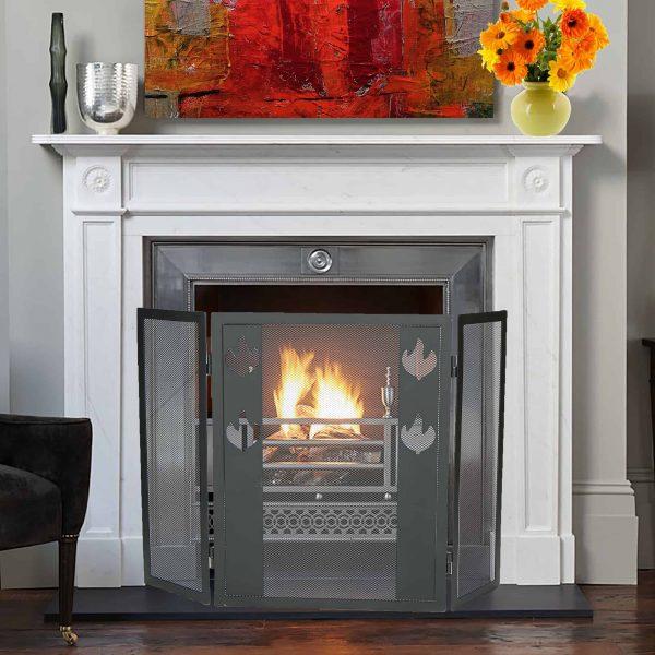 Mind Reader Room Divider 3 Panel Fireplace Screens, Black 2