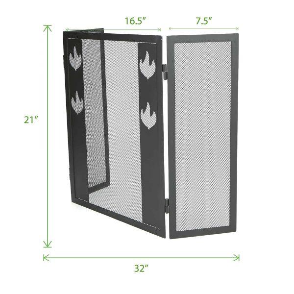 Mind Reader Room Divider 3 Panel Fireplace Screens, Black 5