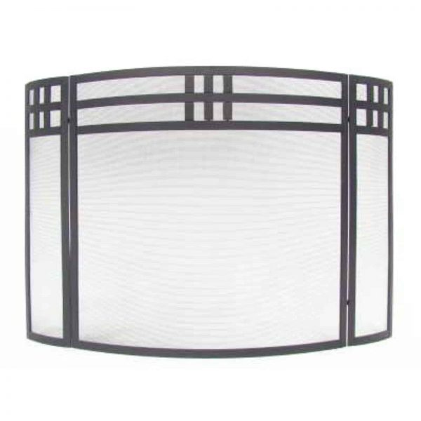 Minuteman International 3 Panel Mission Fireplace Screen - Black