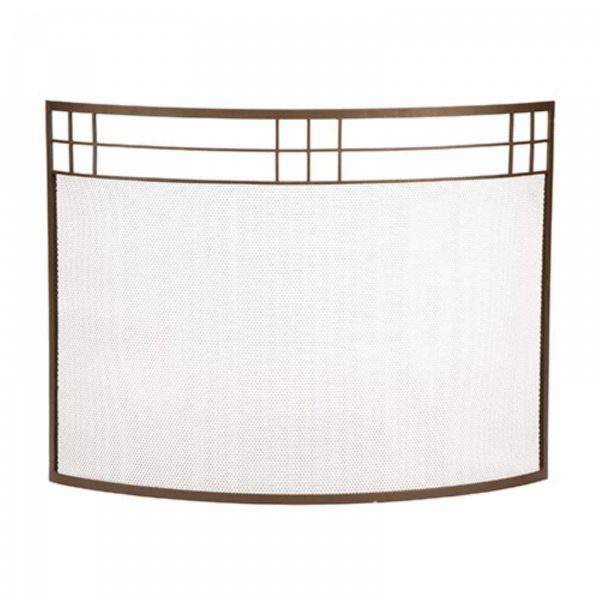 Minuteman International Arts and Crafts Style Curved Fireplace Screen