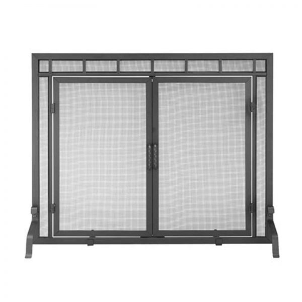 Minuteman International Black Sidelight Classic Flat Fireplace Screen with Doors
