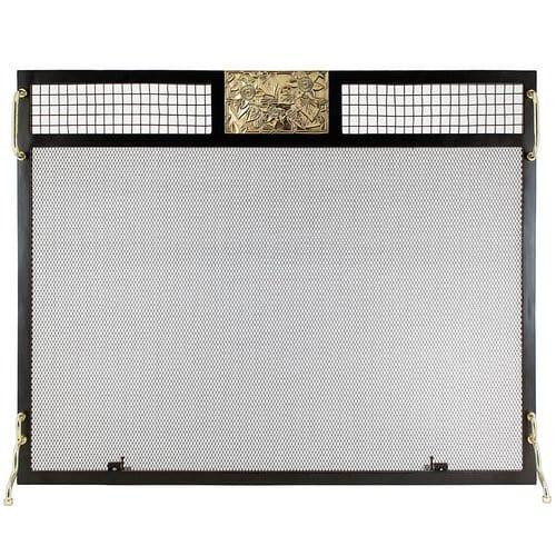 Minuteman International Clematis Emblem Single Panel Iron Fireplace Screen 1
