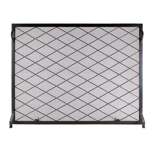 Minuteman International Harlequin Flat Single Panel Iron Fireplace Screen
