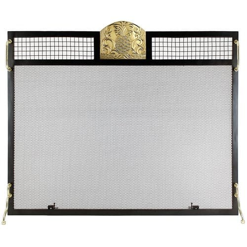 Minuteman International Pineapple Emblem Single Panel Iron Fireplace Screen 1