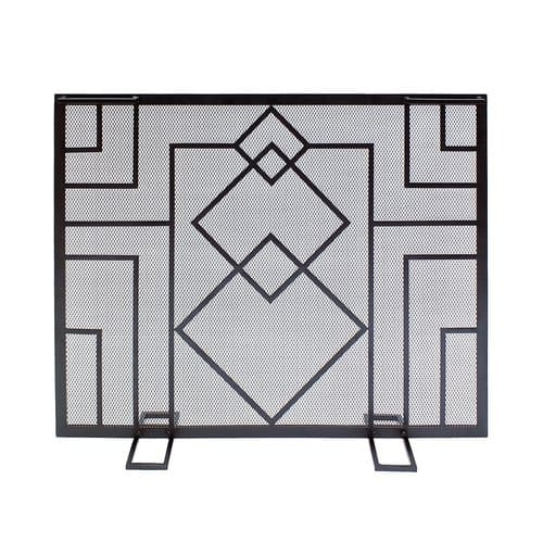 Minuteman International Wright Design Single Panel Iron Fireplace Screen