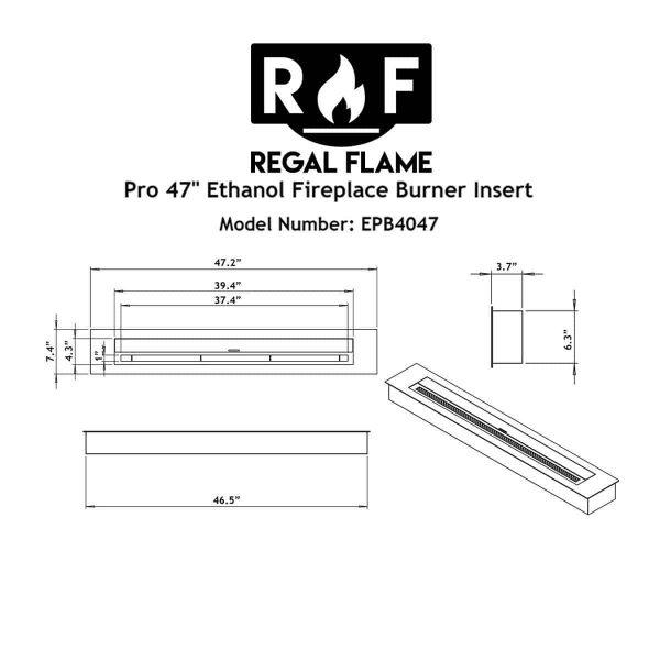 Moda Flame EBP4047-MF 47 in. 9.9 Litre Pro Bio Ethanol Fireplace Burner Insert 5