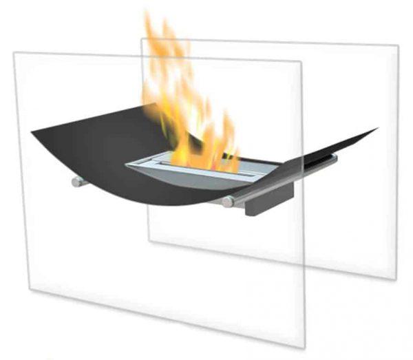 Moda Flame EF6007BK-MF Black Bow Ventless Free Standing Bio Ethanol Fireplace 1