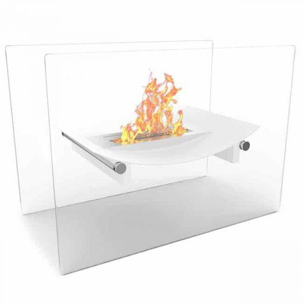 Moda Flame EF6007W-MF Bow Ventless Free Standing Ethanol Fireplace