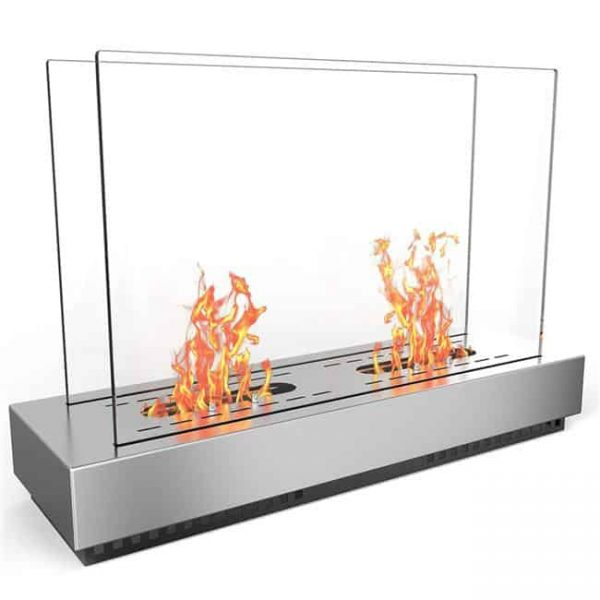 Moda Flame EF6009-MF Phoenix Ventless Free Standing Ethanol Fireplace in Stainless Steel