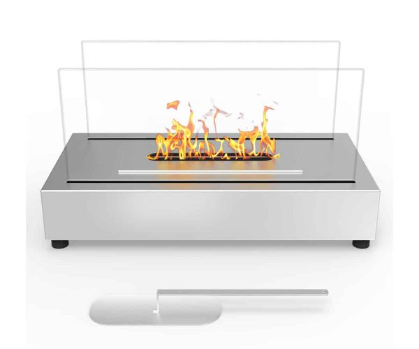 Moda Flame ET7010SS-MF Vigo Ventless Tabletop Portable Bio Ethanol Fireplace in Stainless Steel 1