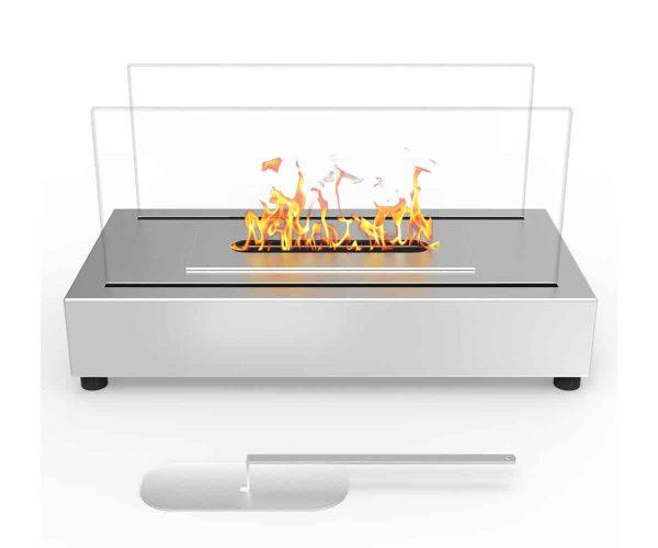 Moda Flame ET7010SS-MF Vigo Ventless Tabletop Portable Bio Ethanol Fireplace in Stainless Steel 1
