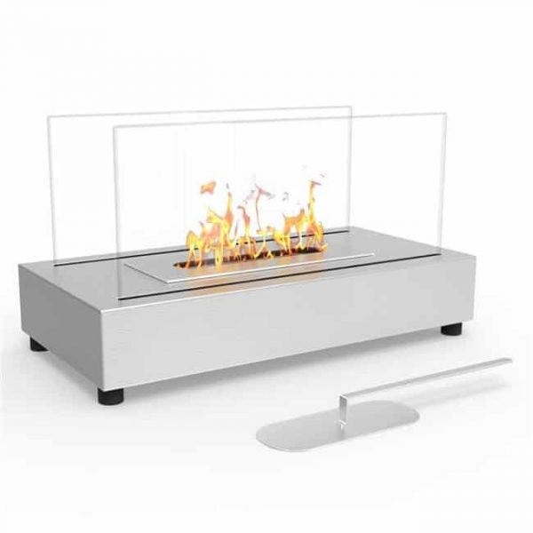 Moda Flame ET7010SS-MF Vigo Ventless Tabletop Portable Bio Ethanol Fireplace in Stainless Steel