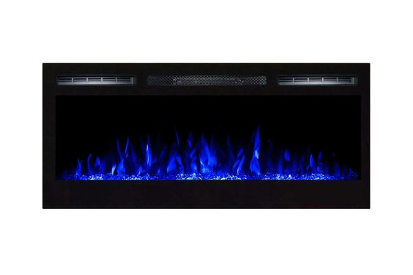Moda Flame LW2035CC-MF 35 in. Cynergy Crystal Stone Built in Wall Mounted Electric Fireplace 1