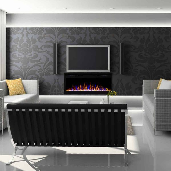 Moda Flame LW2035CC-MF 35 in. Cynergy Crystal Stone Built in Wall Mounted Electric Fireplace 3