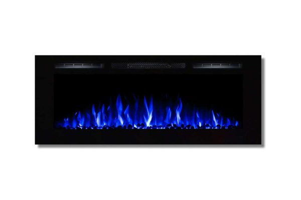 Moda Flame LW2050WS-MF 50 in. MFE5048WS Cynergy Built-in Wall Mounted Electric Fireplace - Pebble Stone 1