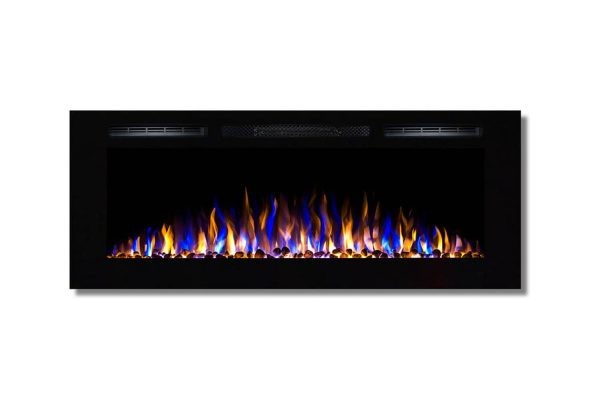 Moda Flame LW2050WS-MF 50 in. MFE5048WS Cynergy Built-in Wall Mounted Electric Fireplace - Pebble Stone 2