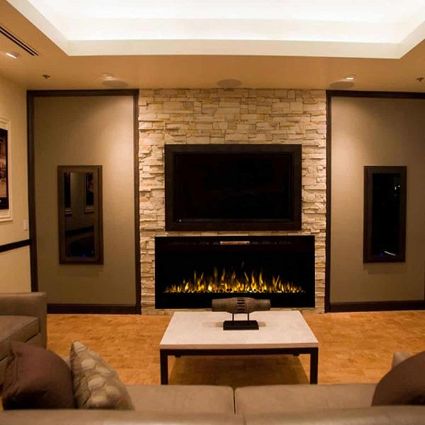 Moda Flame LW2050WS-MF 50 in. MFE5048WS Cynergy Built-in Wall Mounted Electric Fireplace - Pebble Stone 4