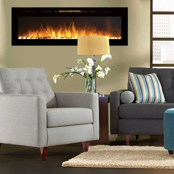 Moda Flame LW2060WS-MF 60 in. MFE5060WS Cynergy XL Built in Wall Mounted Electric Fireplace - Pebble Stone 1