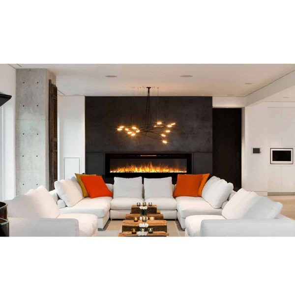 Moda Flame LW2060WS-MF 60 in. MFE5060WS Cynergy XL Built in Wall Mounted Electric Fireplace - Pebble Stone 2