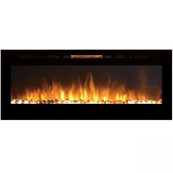 Moda Flame LW2060WS-MF 60 in. MFE5060WS Cynergy XL Built in Wall Mounted Electric Fireplace - Pebble Stone