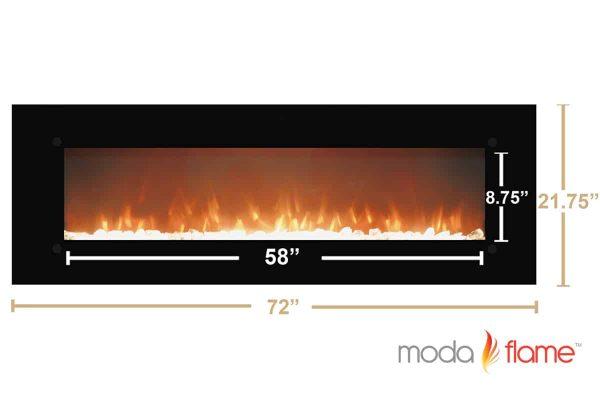"""Moda Flame MFE5072LE 72"""" Skyline Linear Wall Mounted Electric Fireplace - Log 3"""