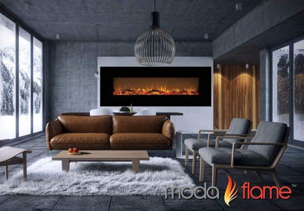 """Moda Flame MFE5072LE 72"""" Skyline Linear Wall Mounted Electric Fireplace - Log 4"""