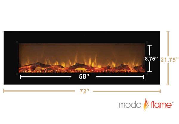 """Moda Flame MFE5072LE 72"""" Skyline Linear Wall Mounted Electric Fireplace - Log 5"""