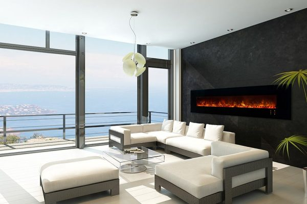 "Modern Flames Ambiance 100"" Clx2 Electric Fireplace With Black Glass Front"