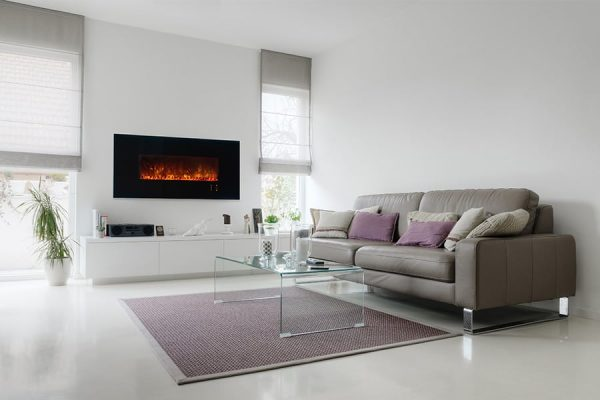 "Modern Flames Ambiance 60"" Clx Electric Fireplace With Black Glass Front"