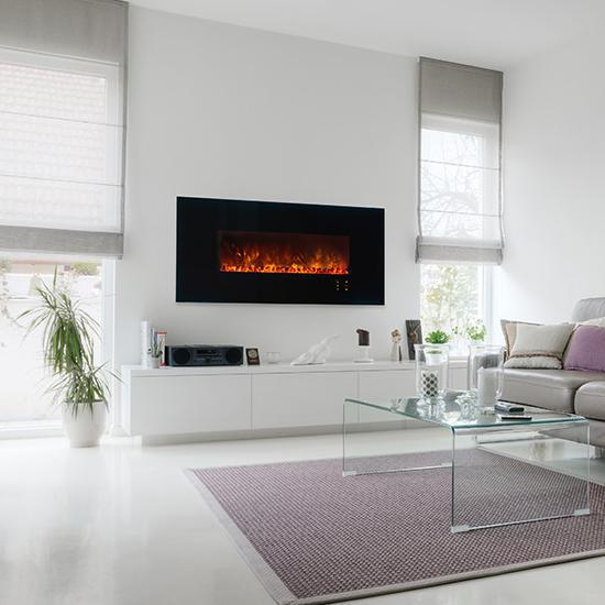 Modern Flames Ambiance CLX2 60-Inch Built-In Electric Fireplace With Black Glass Front