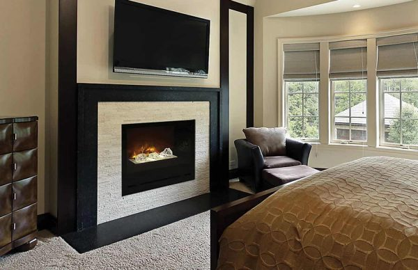 """Modern Flames Home Fire Series Electric Fireplace with Glass Set and Black Glass Side Panels, 36"""" 1"""