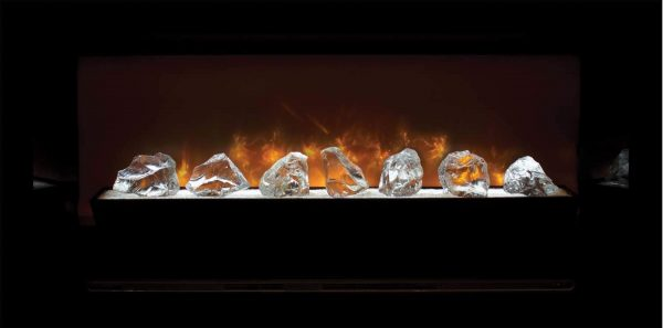 Modern Flames Home Fire Series Electric Fireplace with Glass Set and Black Glass Side Panels