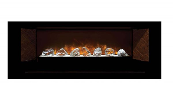 Modern Flames Home Fire Series Electric Fireplace with Glass Set and Red Herringbone Side Panels