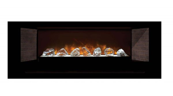 Modern Flames Home Fire Series Electric Fireplace with Glass Set and Red Straight Side Panels
