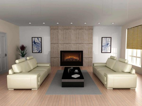 """Modern Flames Home Fire Series Electric Fireplace with Log Set and Red Herringbone Side Panels, 36"""" 1"""