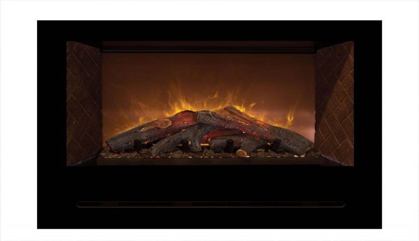 Modern Flames Home Fire Series Electric Fireplace with Log Set and Red Herringbone Side Panels