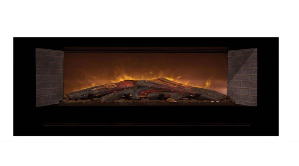 Modern Flames Home Fire Series Electric Fireplace with Log Set and Red Straight Side Panels