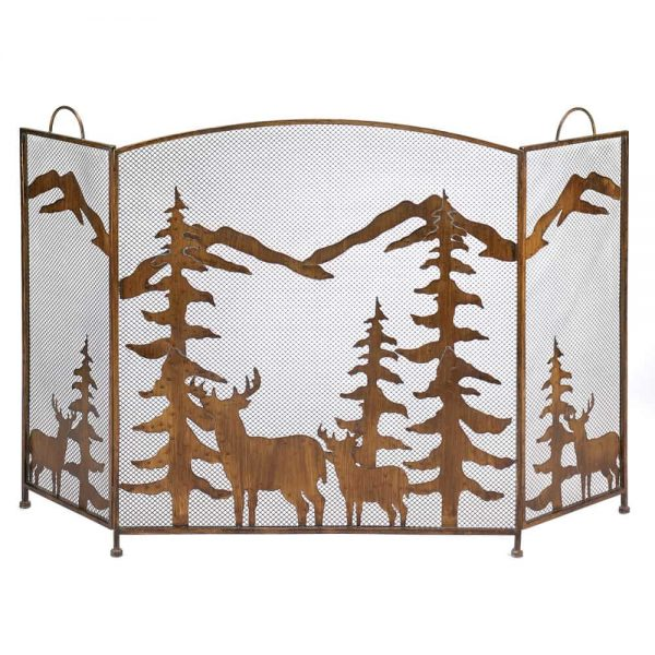 Modern Rustic Forest Fireplace Screen